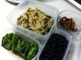 切干大根、菜の花辛し和え、黒豆、昆布豆